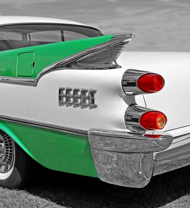 American vintage classic car. Photo of an american vintage dodge coronet classic car showing detail to wing fins and rear lights. photo taken august 2nd 2015 stock photo