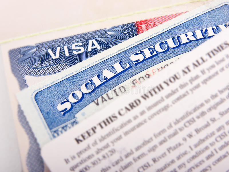 American Visa and Social Security Card stock images