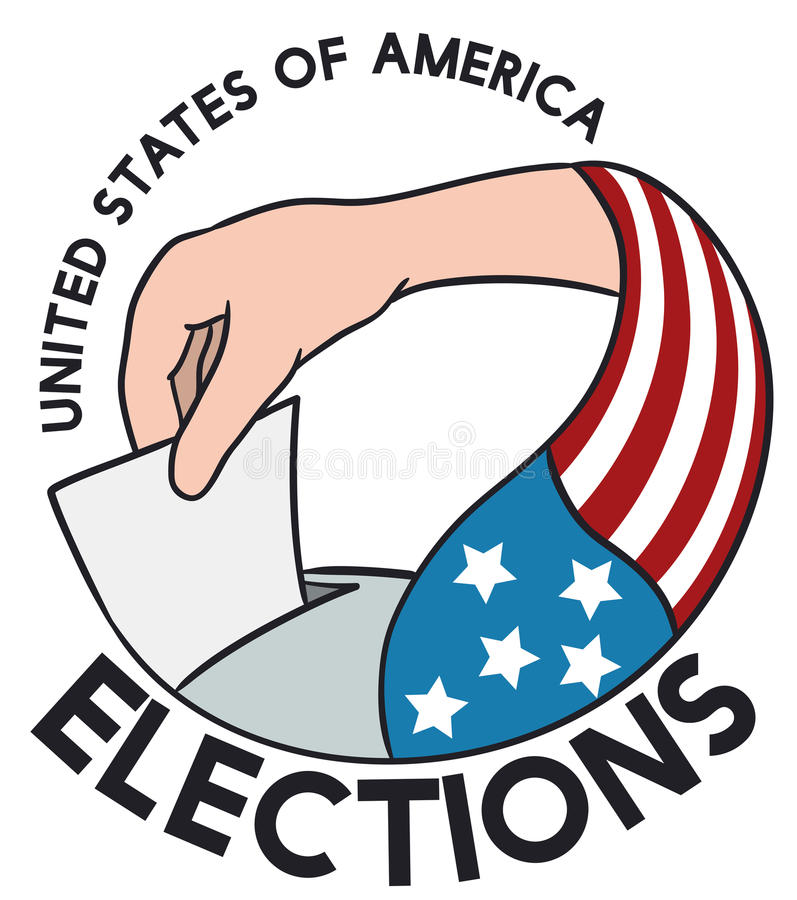 American Voters Hand with Flag in Election Event, Vector Illustration. Poster with American citizen hand with flag exercising the right to suffrage royalty free illustration