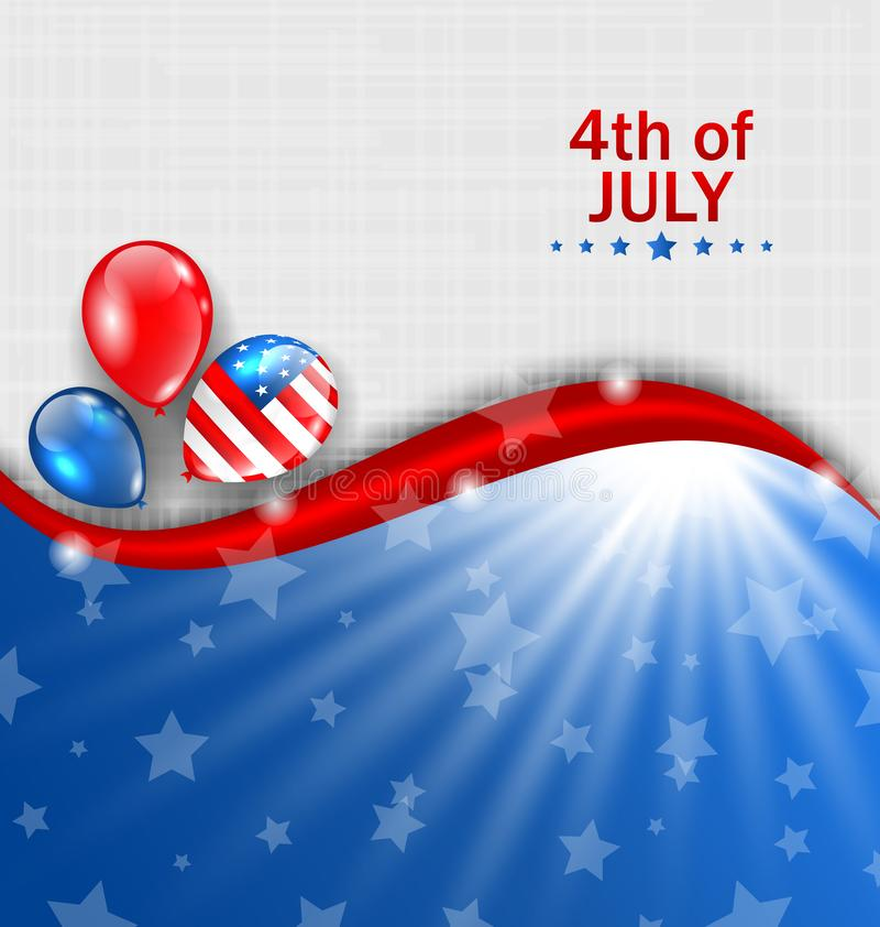 American Wallpaper for Independence Day, Traditional National Colors, Balloons stock illustration