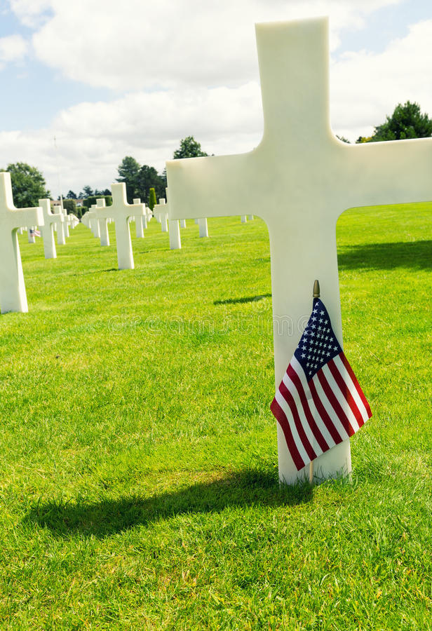American War Cemetery at Omaha Beach, Normandy (Colleville-sur-M stock image