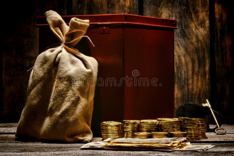 American West Legend Gold Coins and Money Shipment royalty free stock photography