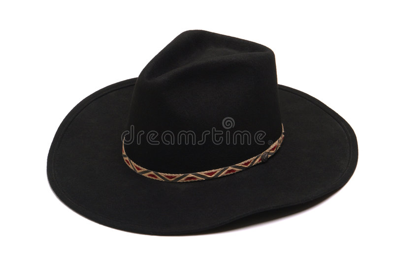 American West Rodeo Black Felt Cowboy Hat Isolated royalty free stock images