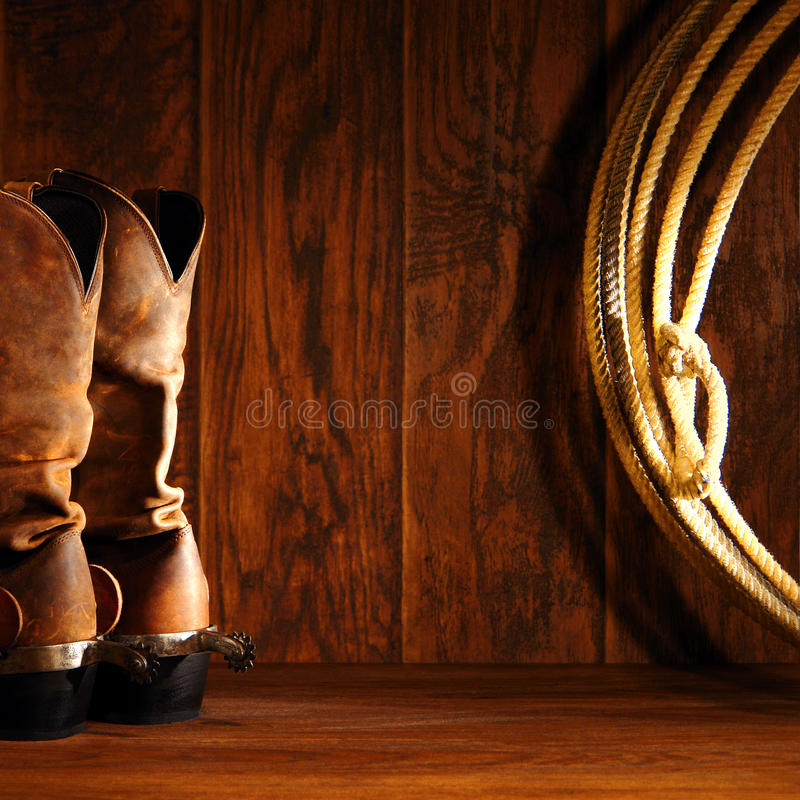 Free American West Rodeo Cowboy Boots And Lasso Lariat Stock Image - 22202151