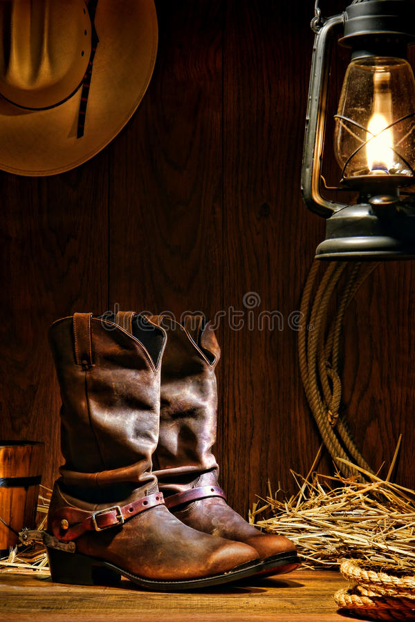 American West Rodeo Cowboy Boots in a Ranch Barn stock photo