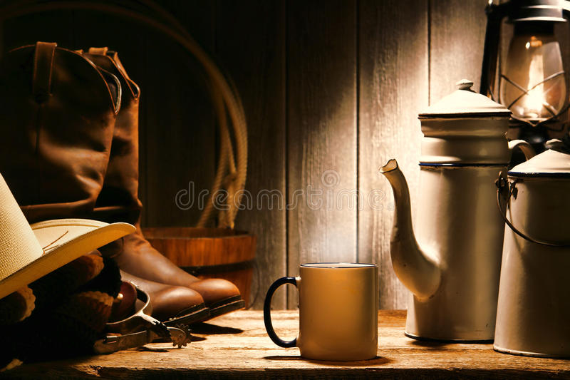 American West Rodeo Cowboy Coffee Break at a Ranch royalty free stock photos