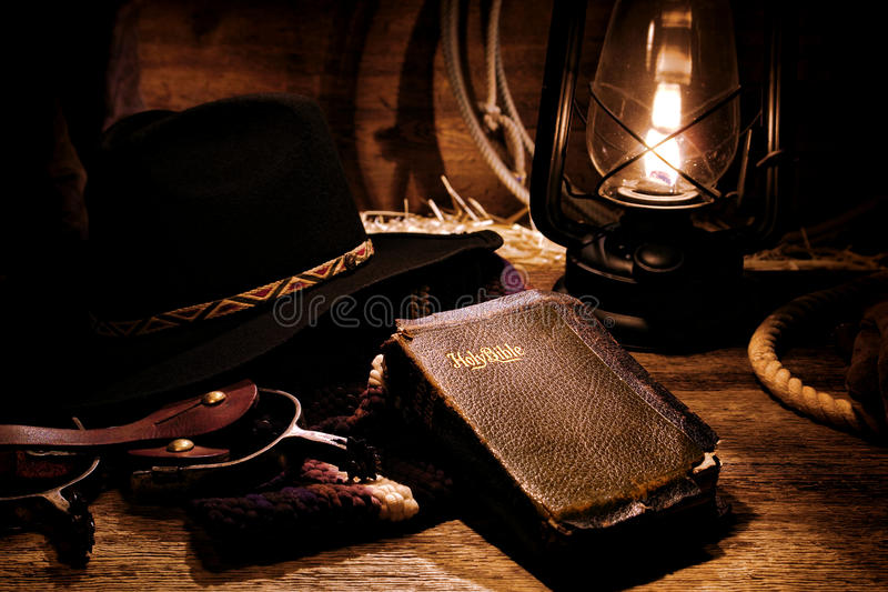 Download American West Rodeo Cowboy Gear And Old Holy Bible Stock Image - Image: 24423775