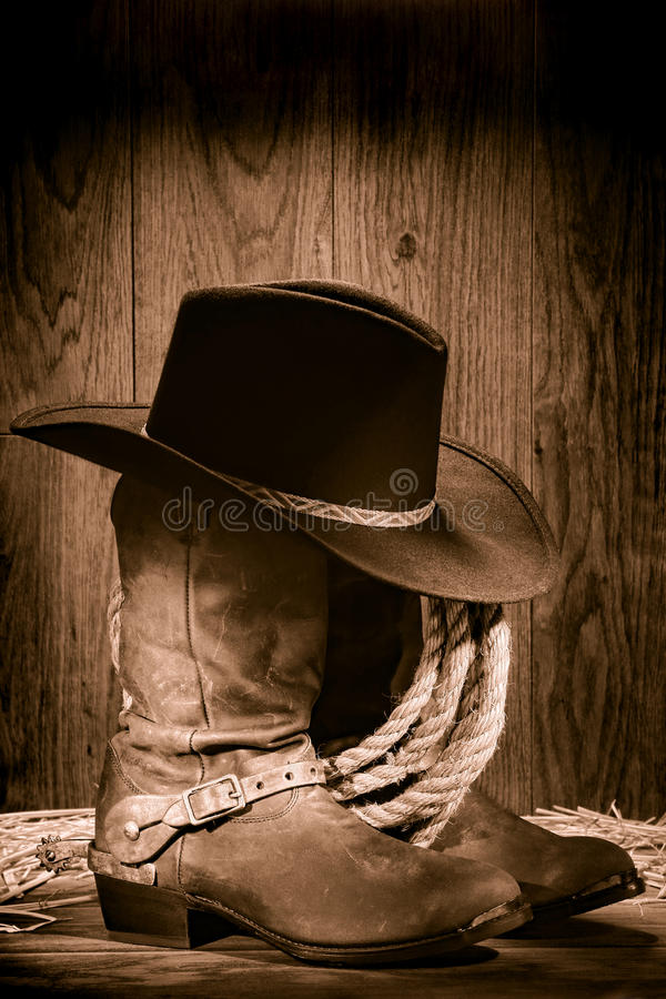 Download American West Rodeo Cowboy Hat Atop Western Boots Stock Image - Image: 22133469
