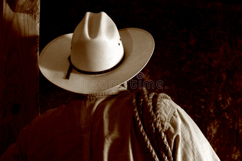 Download American West Rodeo Cowboy With Hat And Lasso Stock Photo - Image: 1416848