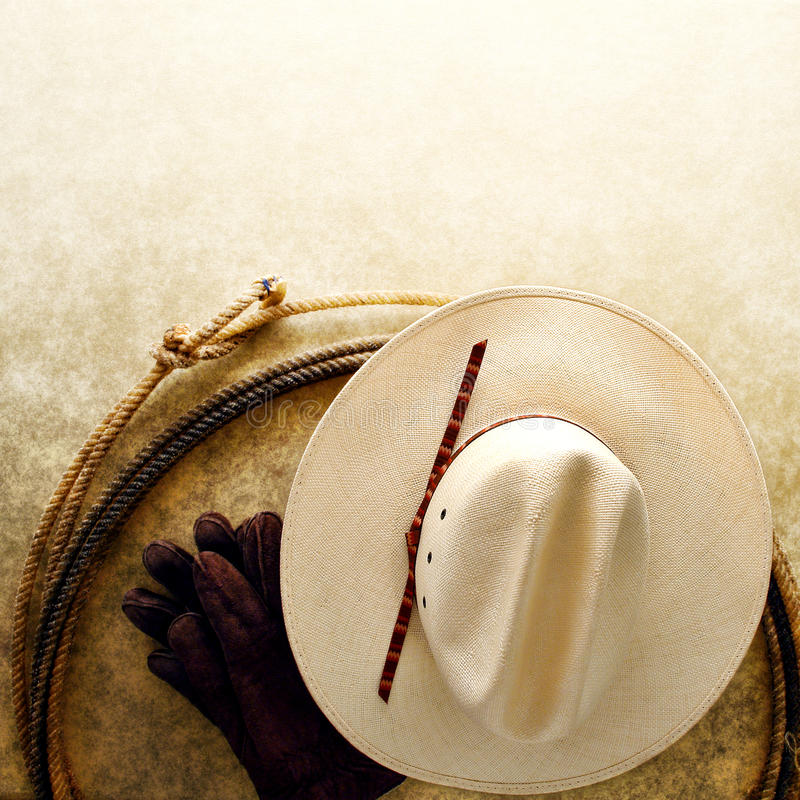 American West Rodeo Cowboy Hat and Lasso Rope royalty free stock photo