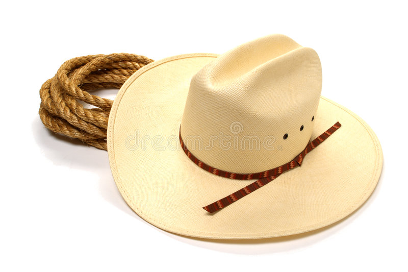 American West Rodeo Cowboy Hat and Ranching Rope. American West rodeo white straw cowboy hat and lasso ranching rope over white royalty free stock images