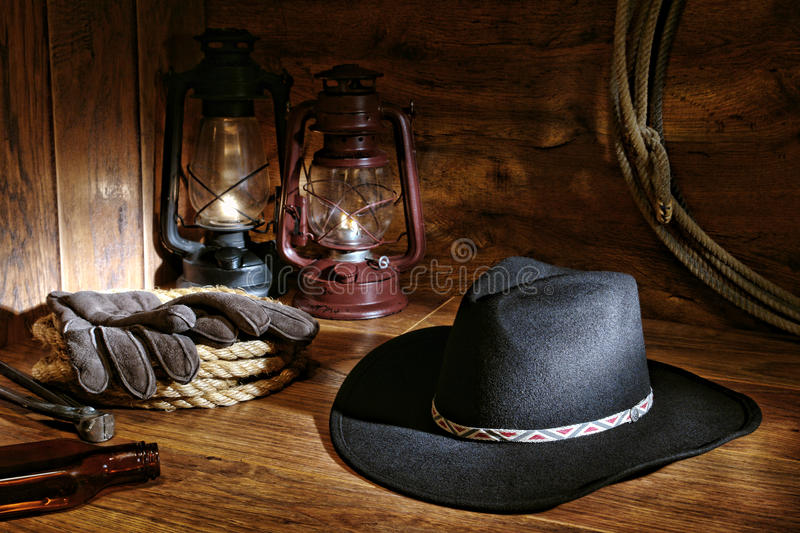 American West Rodeo Cowboy Hat and Ranching Tools royalty free stock images