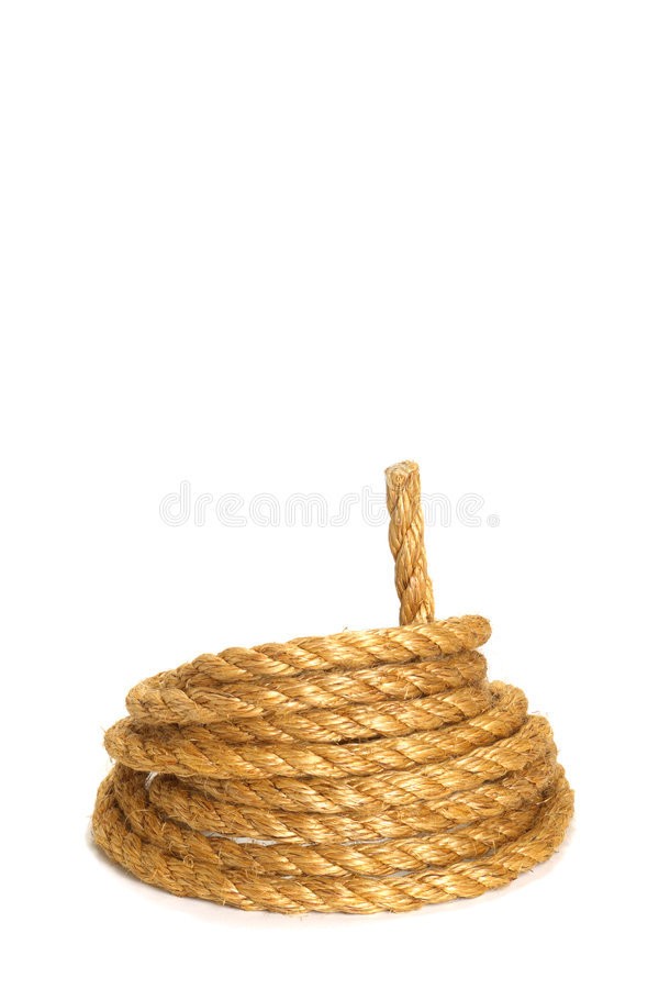 American West Rodeo Ranching Rope. American West rodeo natural fiber ranching rope coiled in a loop royalty free stock photos