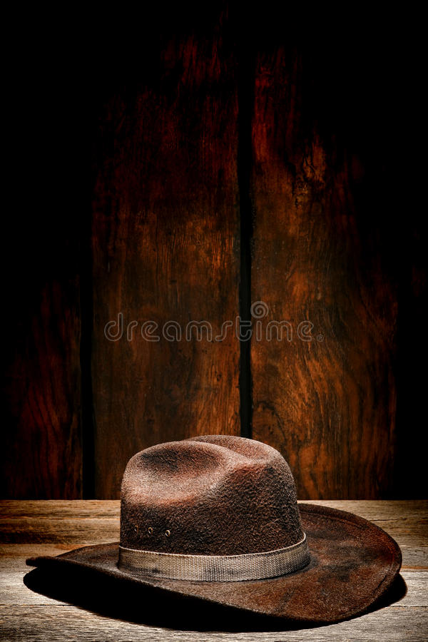 American West Rodeo Used and Worn Old Cowboy Hat stock photo