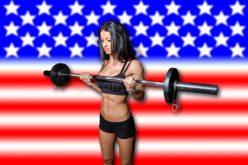 American woman bodybuilder stock image