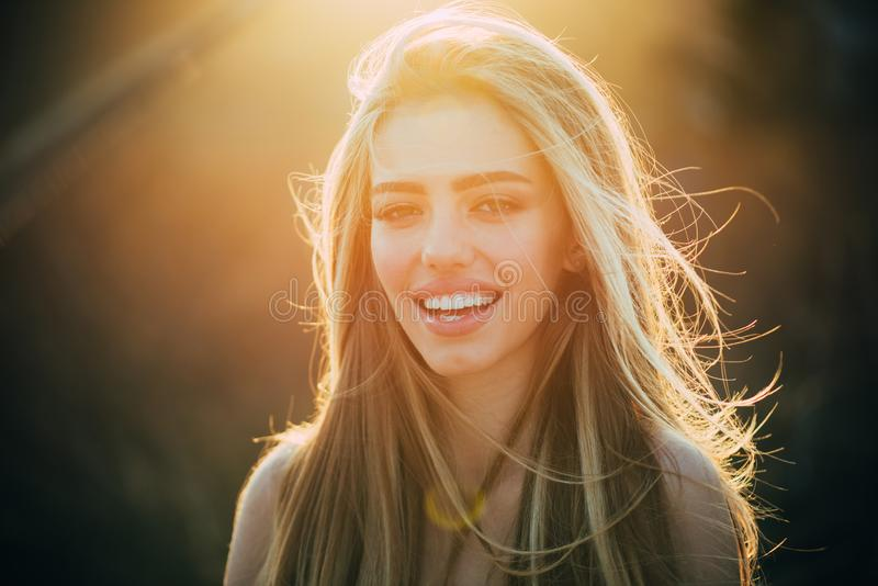 American woman. Perfect smile and beatiful. Smile, lips and teeth. Beautiful Model Girl with white teeth and perfect royalty free stock photo