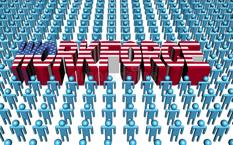 Download American Workforce With Flag Text Stock Illustration - Illustration of american, citizens: 21455029