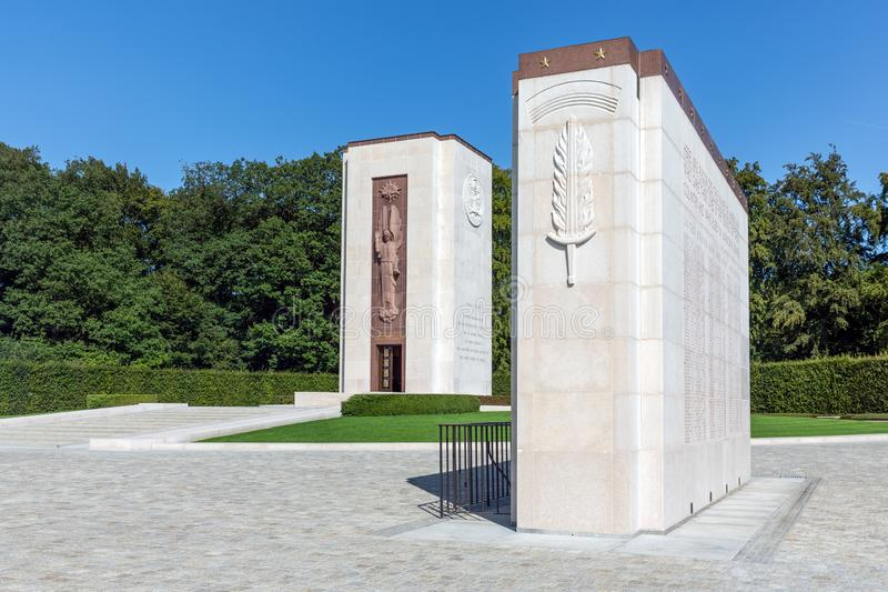 American WW2 memorial monument with names buried soldiers in Luxembourg royalty free stock photo