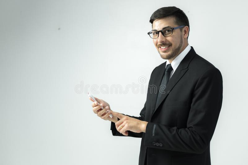 American Young businessman working with laptop at office royalty free stock photography