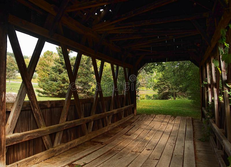 The Americana Villlage. Hamilton, New York, USA. September 17, 2017.Inside a covered bridge at the Americana Villlage, a copy of a nineteenth century village, on royalty free stock images