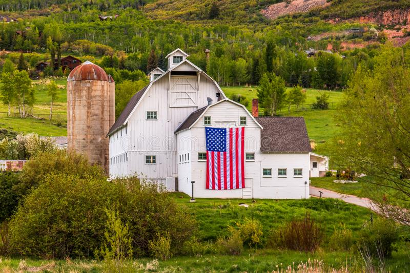 Americana white barn in Utah stock images