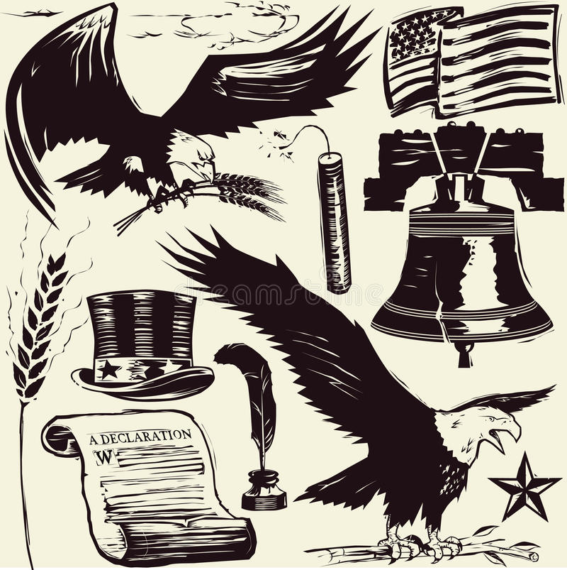 americana woodcut royalty ilustracja