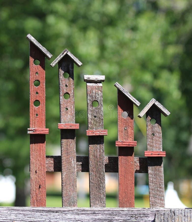 Americana Wooden Yard Art Birdhouses royalty free stock photo