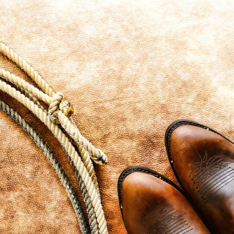 americanen startar den västra rodeoen för cowboylariatlassoen arkivfoton