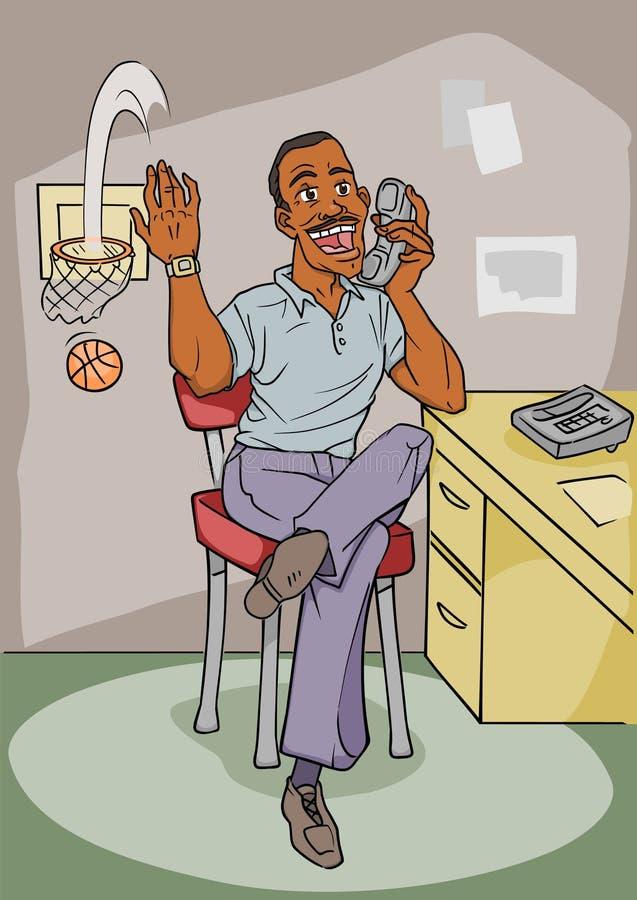 Americano africano de trabalhador de escritório ilustração do vetor