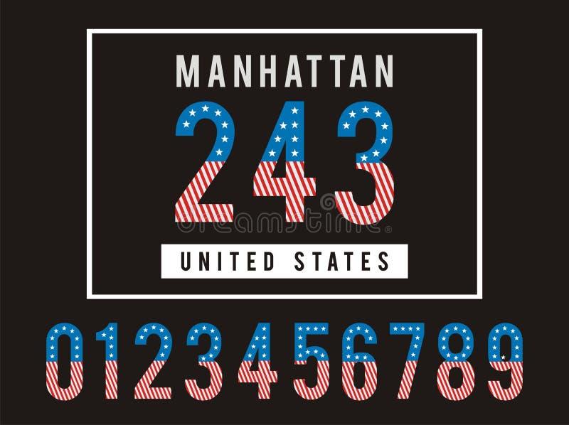 Americano ajustado da bandeira da textura do número de Manhattan ilustração royalty free