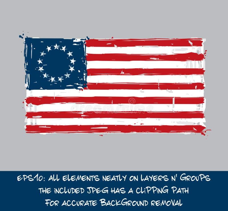 Americano Betsy Ross Flag Flat - colpi artistici e Splas della spazzola illustrazione vettoriale