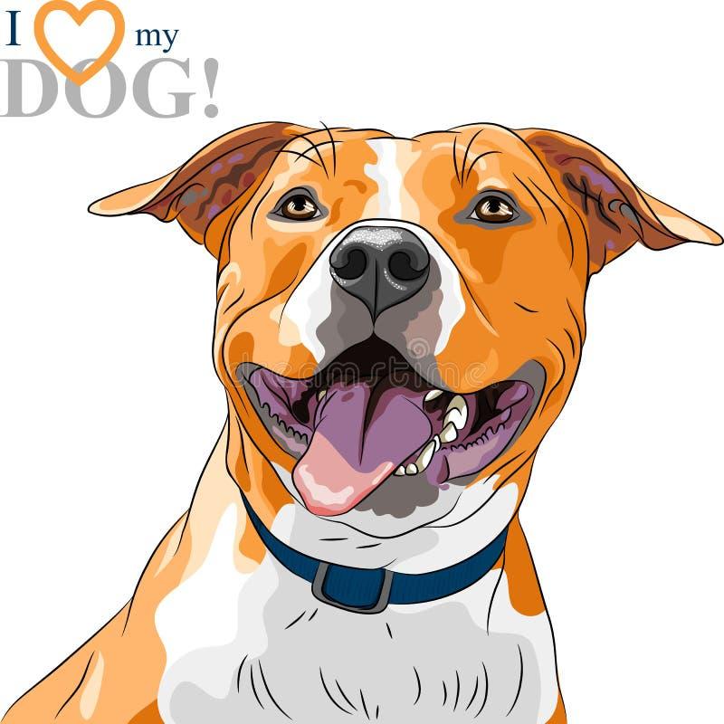 Americano de sorriso Staffordshire T do cão do esboço do vetor ilustração royalty free