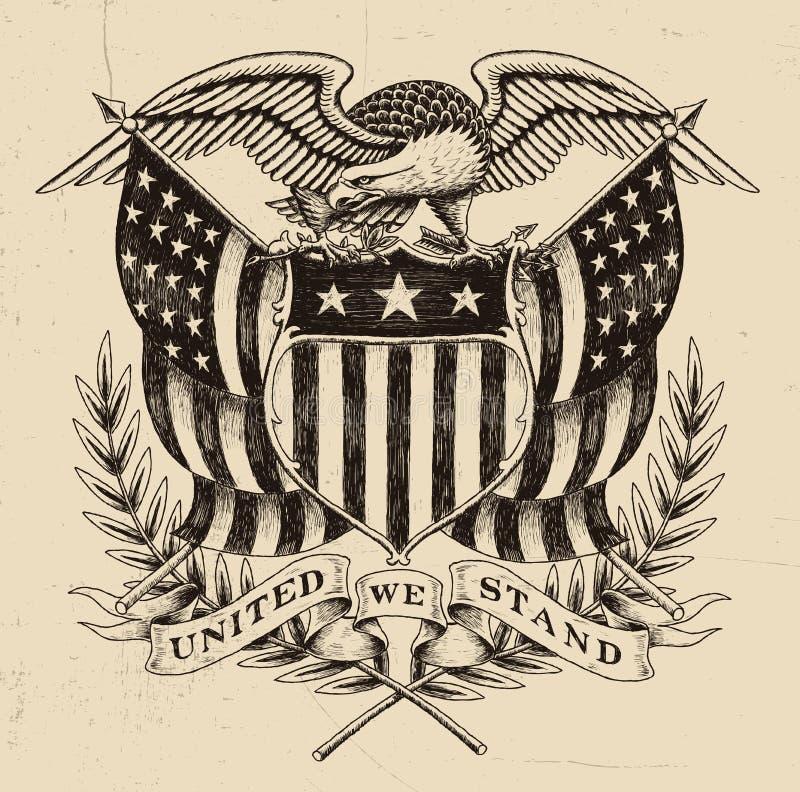 Americano dibujado mano Eagle Linework stock de ilustración
