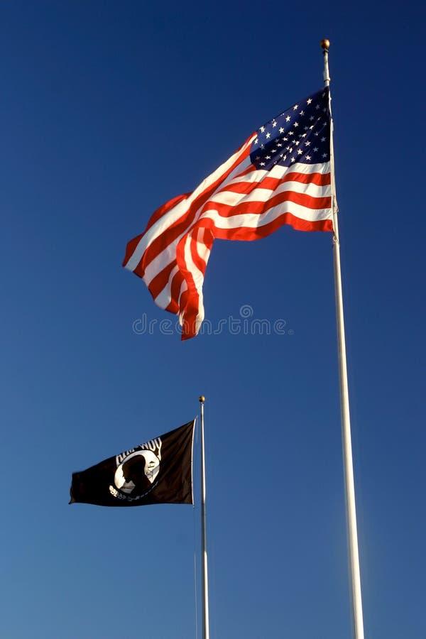 Americano e bandeiras de POW-MIA imagem de stock royalty free