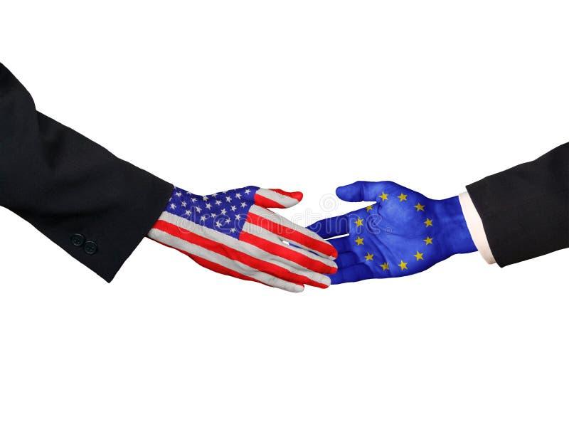 Americano e stretta di mano dell'Ue fotografia stock libera da diritti