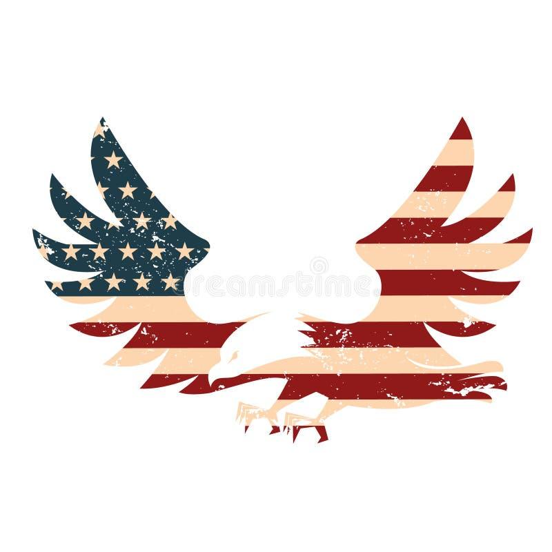 Americano Eagle com fundo da bandeira dos EUA Ilustração do abstrac ilustração royalty free