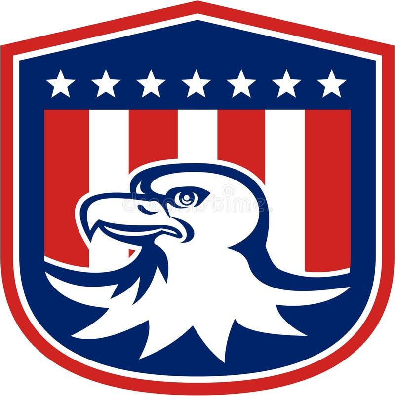 Americano Eagle Head Flag Shield Retro calvo libre illustration