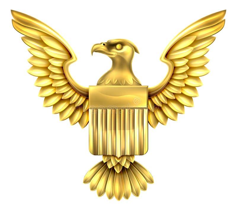 Americano Eagle Shield do ouro ilustração stock