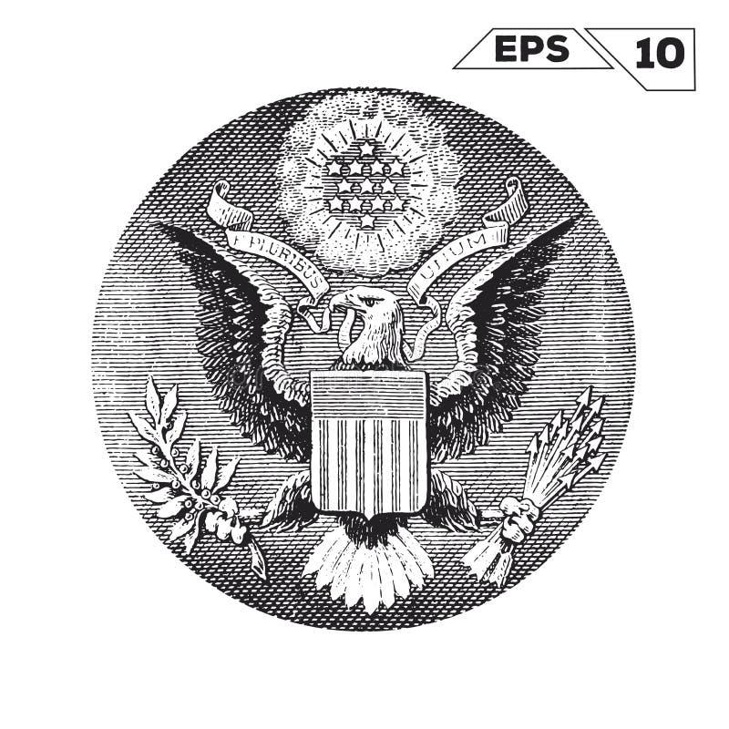 Americano Eagle su un dollaro di U.S.A. royalty illustrazione gratis
