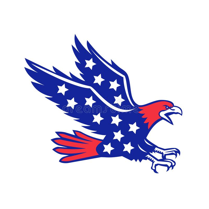 Americano Eagle Swooping Stars Icon ilustração royalty free