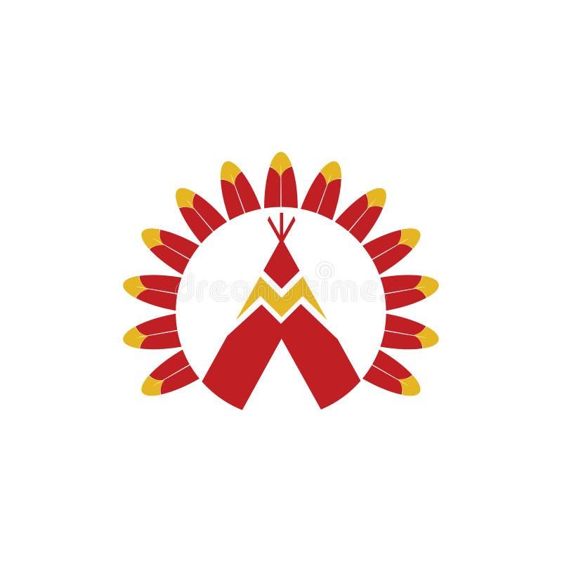 Americano indiano Sioux Teepee e Eagle Feathers ilustração stock