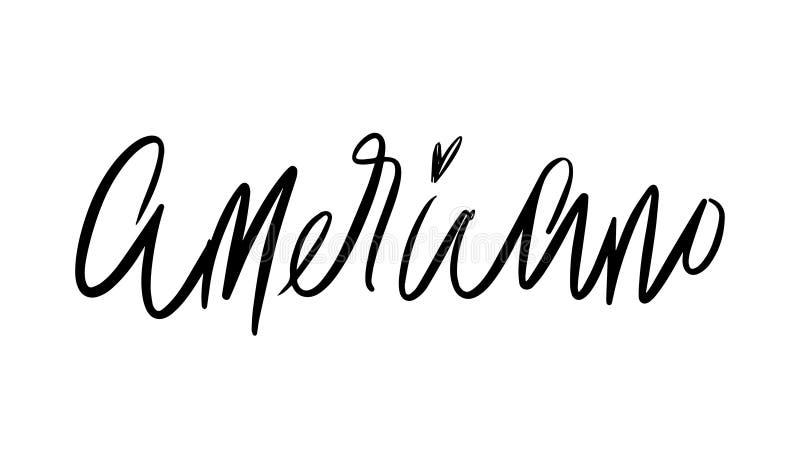 Americano literowanie Wektorowa ilustracja Ręcznie pisany literowanie Wektorowi elementy dla sklep z kawą, rynek, cukierniany pro royalty ilustracja