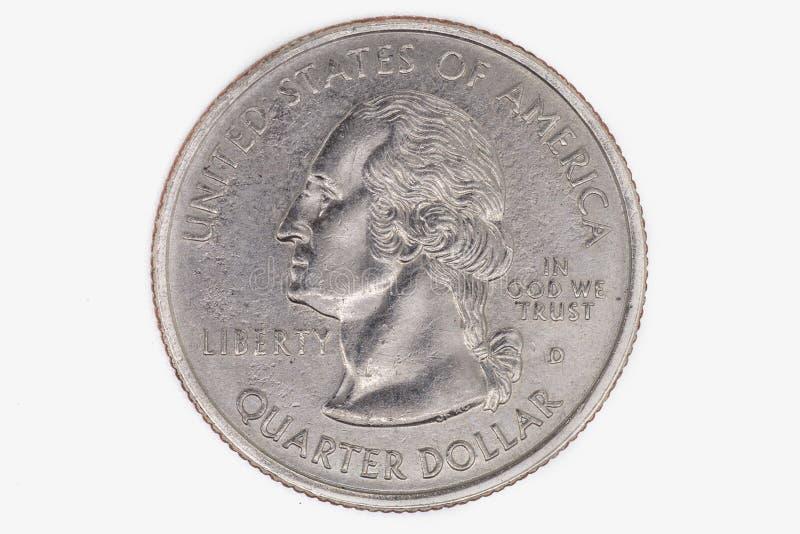 Americano moeda de um quarto de dólar isolada em um fundo branco foto de stock