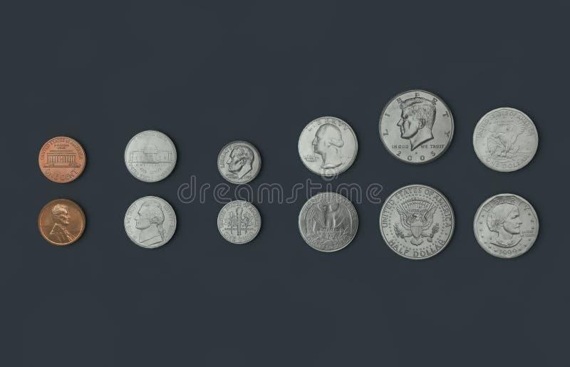 Americano-moedas ilustração do vetor