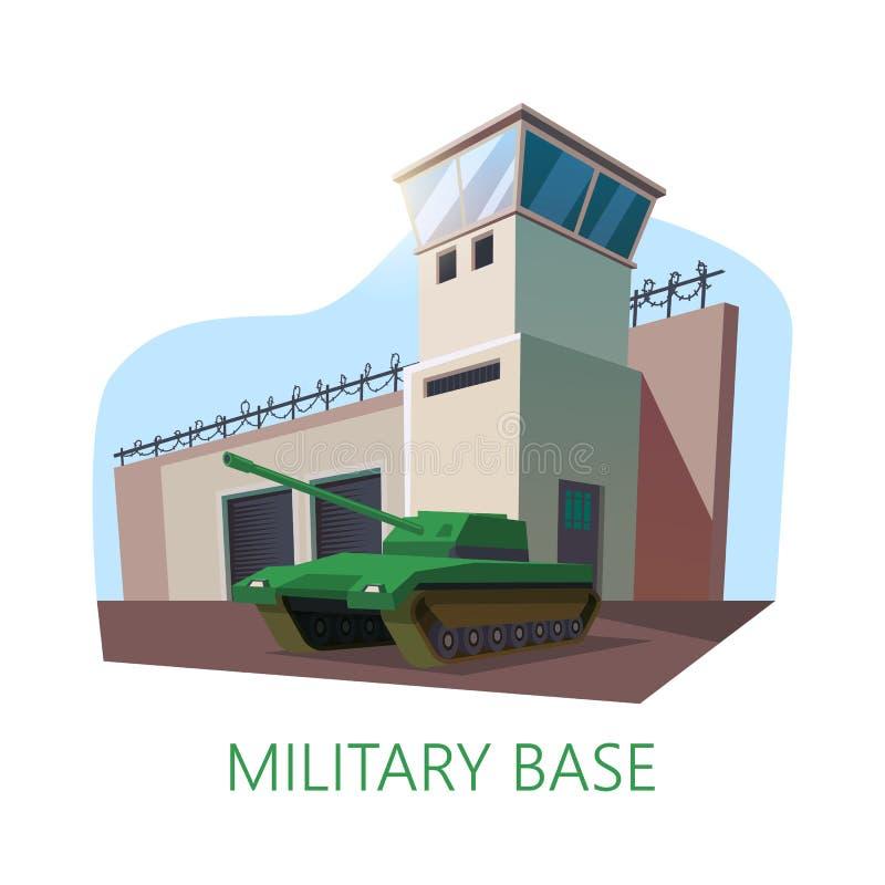 Americano o costruzione e carro armato della base militare di U.S.A. royalty illustrazione gratis