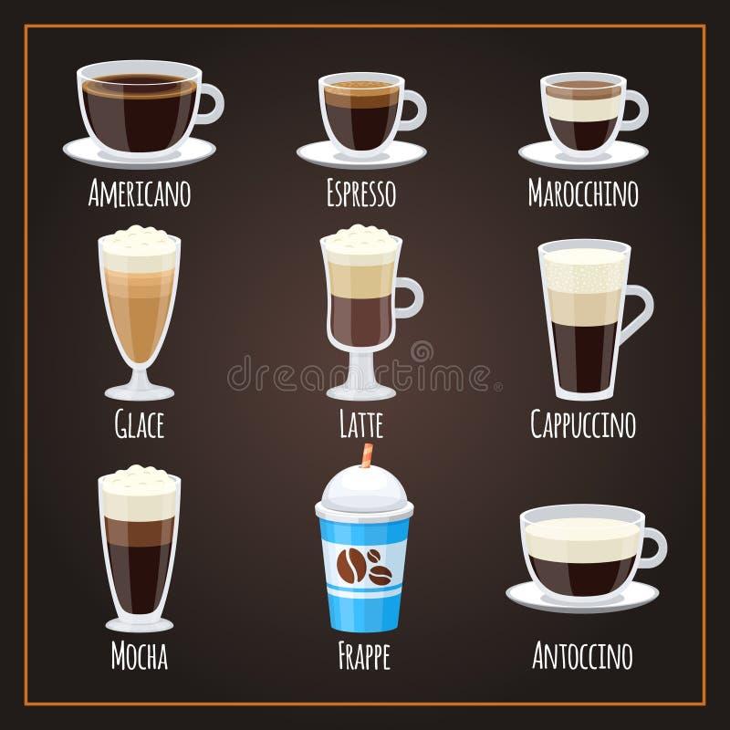 Americano och latte för samling för vektor för kaffetyper plan vektor illustrationer