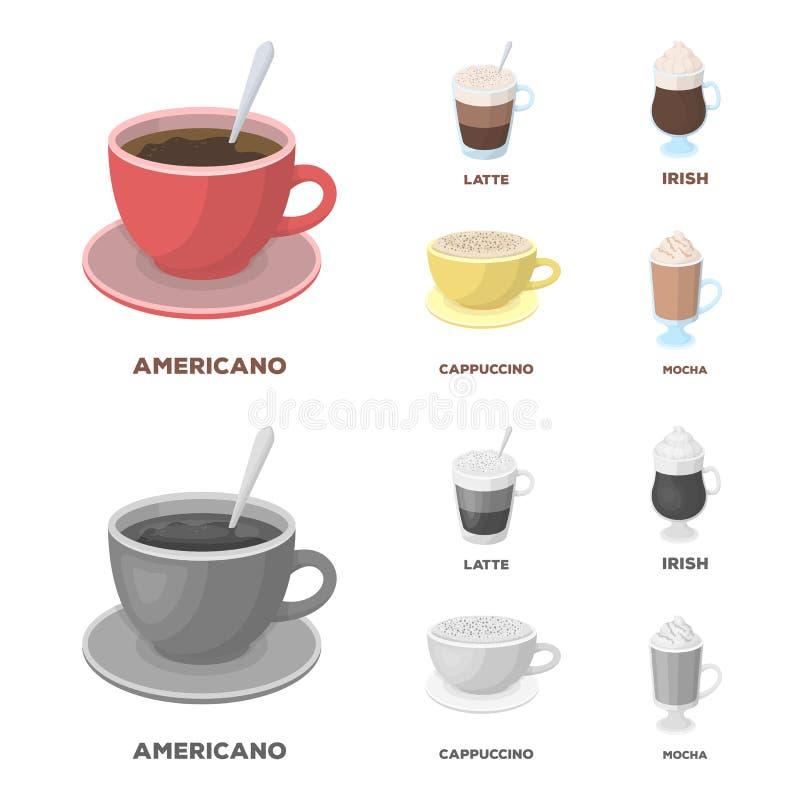 Americano, recente, irlandese, cappuccino Tipi differenti di icone della raccolta dell'insieme di caffè nel fumetto, vettore mono illustrazione vettoriale