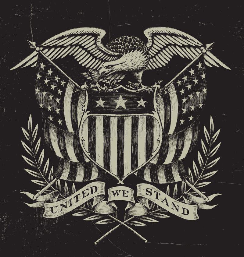 Americano tirado mão Eagle ilustração stock