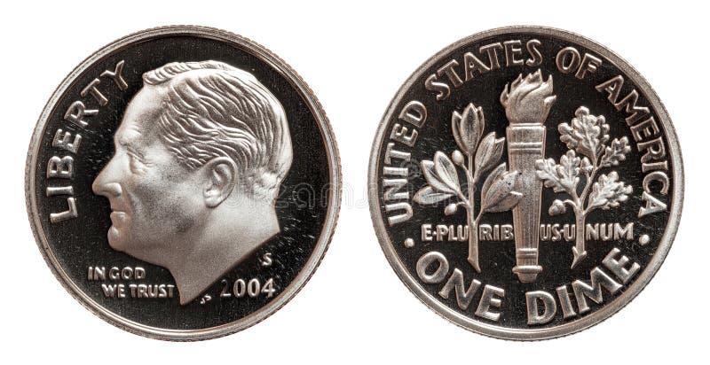 Americano uma moeda da moeda de dez centavos isolada no fundo branco imagem de stock royalty free