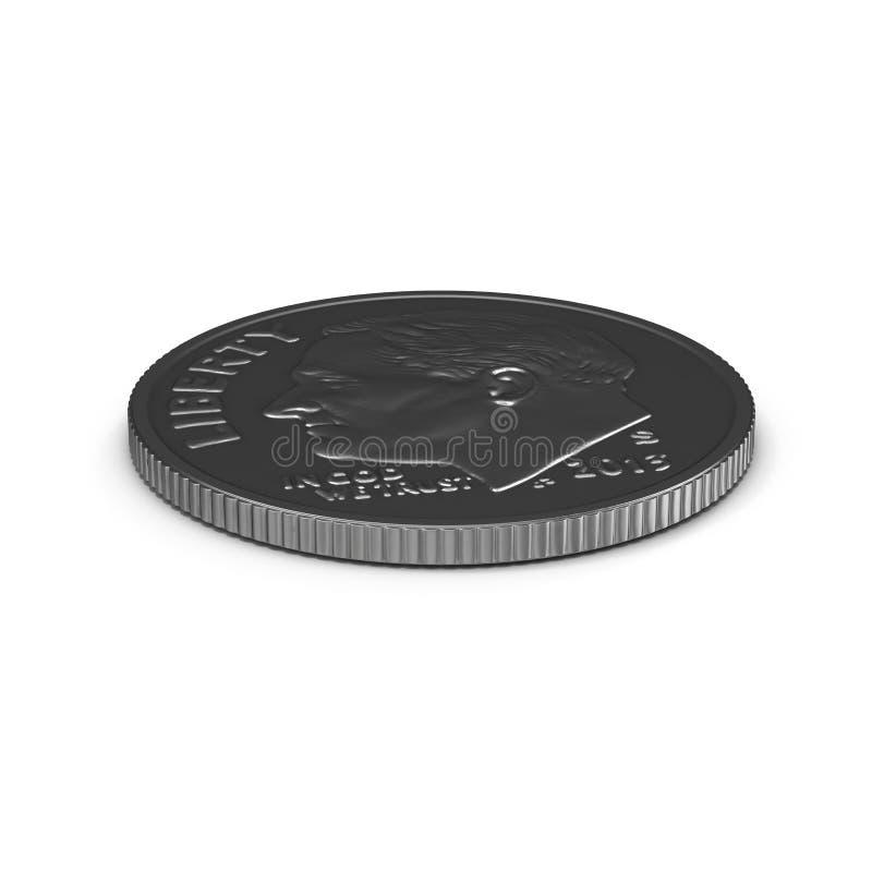 Americano uma moeda da moeda de dez centavos isolada no branco ilustração 3D ilustração do vetor